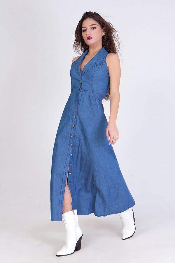 Denim φόρεμα σεμιζιέ αμάνικο Coocu