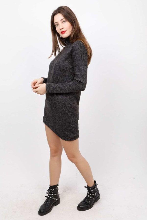 Ασύμμετρο πλεκτό mini φόρεμα Coocu