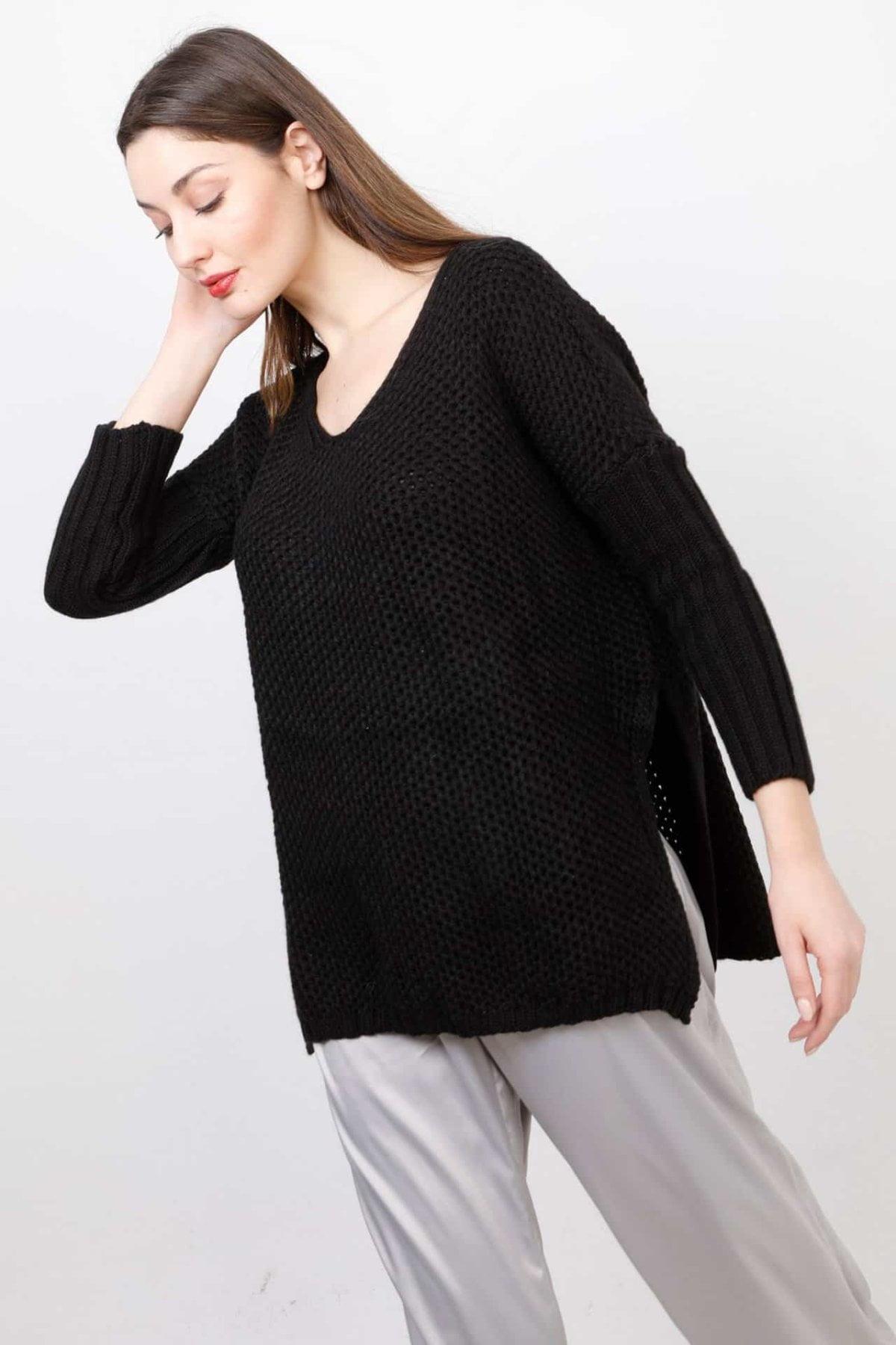 Πλεκτή μπλούζα με ανοίγματα στο πλάι Coocu