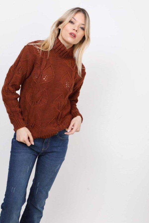 Πλεκτή μπλούζα με σχέδιο πλέξης φύλλα Coocu