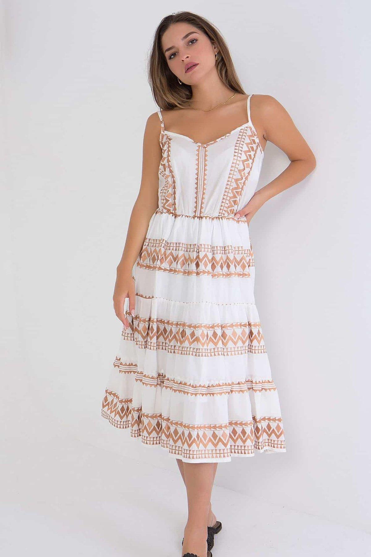 Φόρεμα midi με κέντημα Coocu