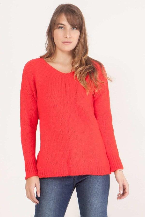 Πλεκτή μπλούζα σε ίσια γραμμή Coocu