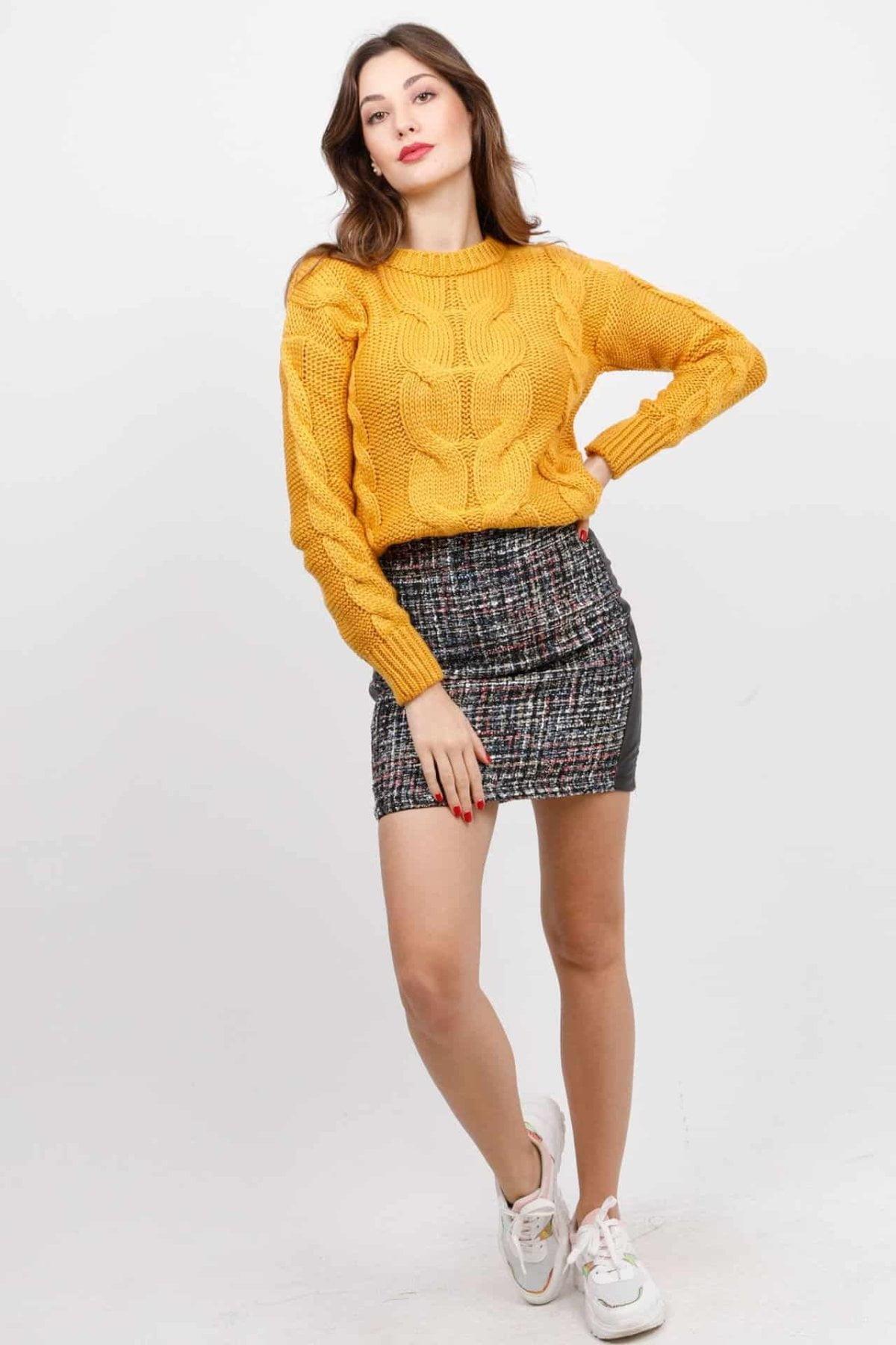 Πλεκτή μπλούζα με σχέδιο πλέξης Coocu