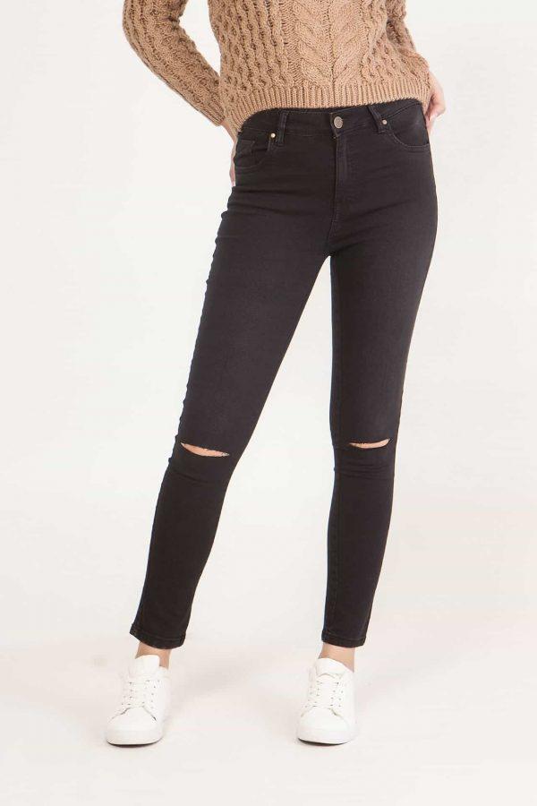 Jean μαύρο με σκίσιμο στα γόνατα Coocu