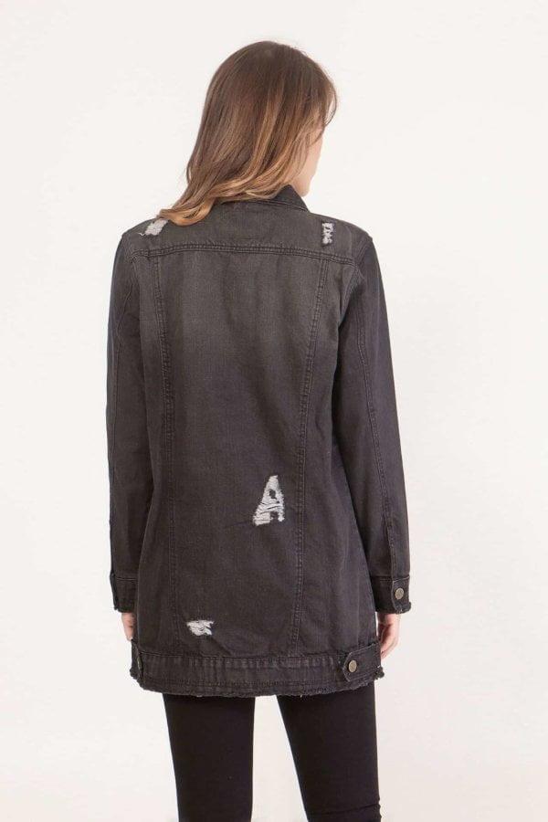 Jean jacket μακρύ με κουμπιά και ξέφτια Coocu