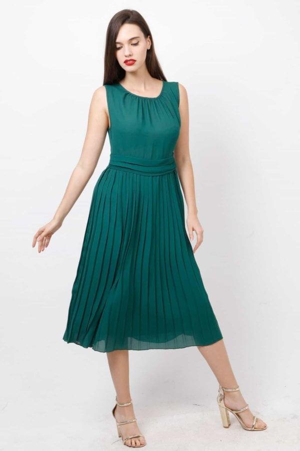 Midi φόρεμα πλισέ Coocu