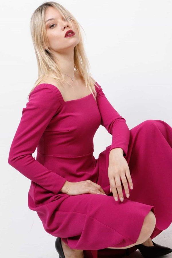 Midi φόρεμα μακρυμάνικο Coocu