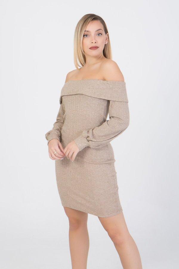 Φόρεμα με παρτούς ώμους Benissimo