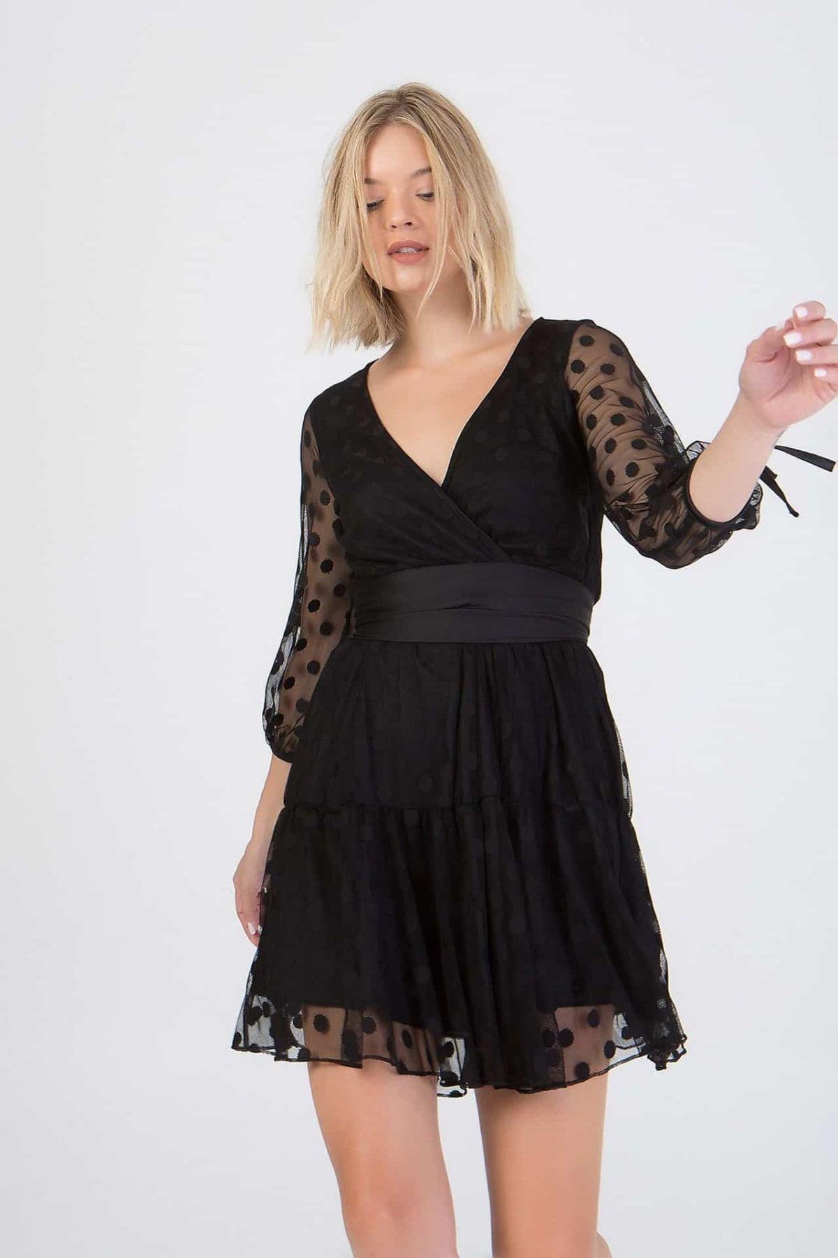 Φόρεμα με διαφάνεια πουά  Benissimo