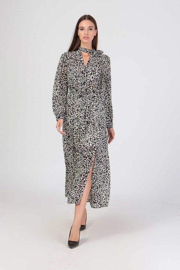 Φόρεμα εμπριμέ με σκίσιμο στο πλάι Benissimo