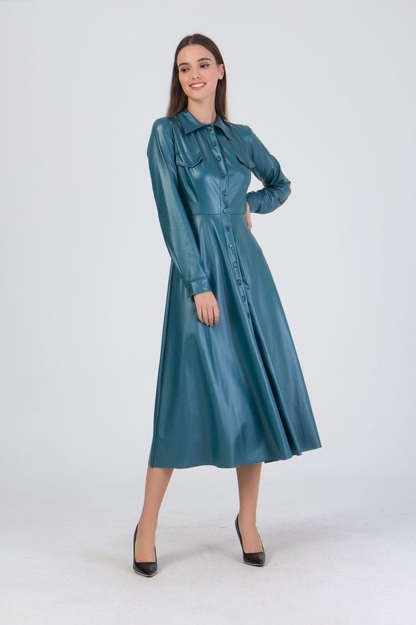 Φόρεμα δερματίνη maxi Benissimo