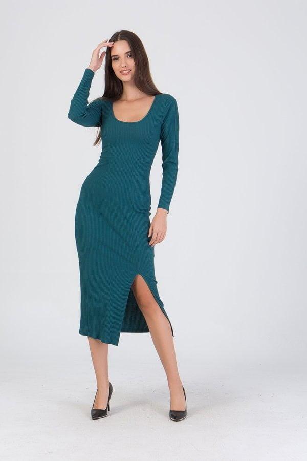 Φόρεμα midi με σκίσιμο στο πλάι Coocu