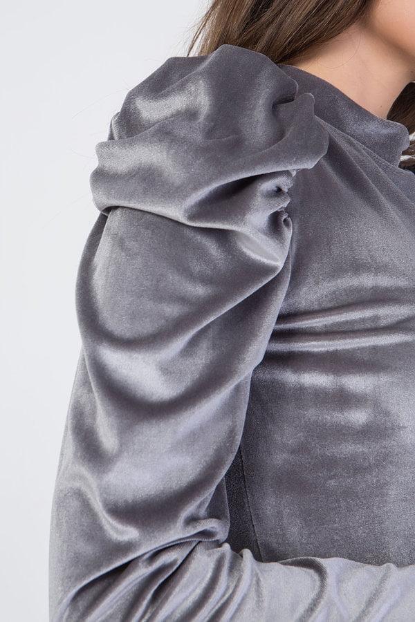 Μπλούζα velvet με φουσκωτούς ώμους Frozen Berry