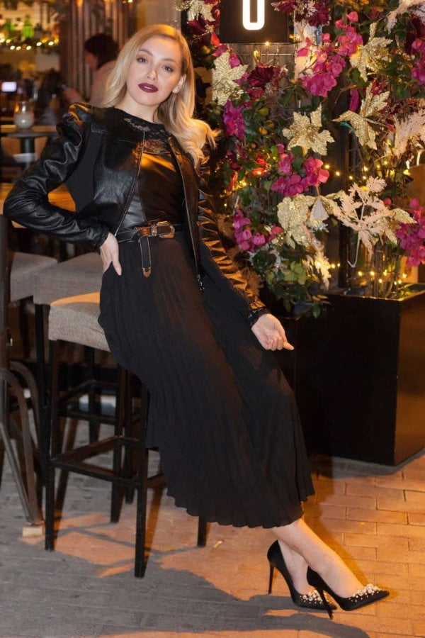 Maxi φόρεμα σε συνδιασμό υφασμάτων Coocu