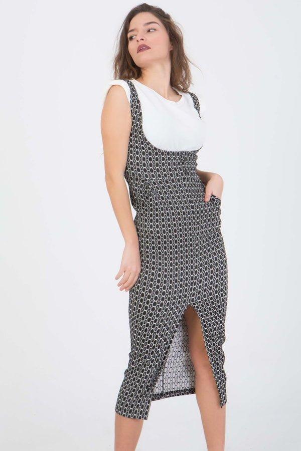 Φόρεμα με τιράντες και σκίσιμο μπροστά Benissimo