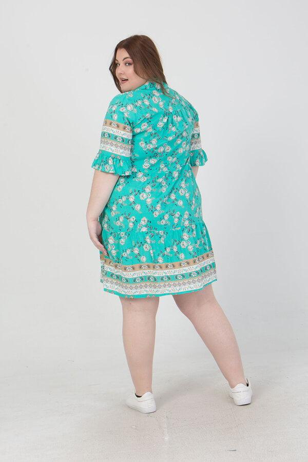Φόρεμα κοντό εμπριμέ με τουα κάρτ μανίκια  Honey