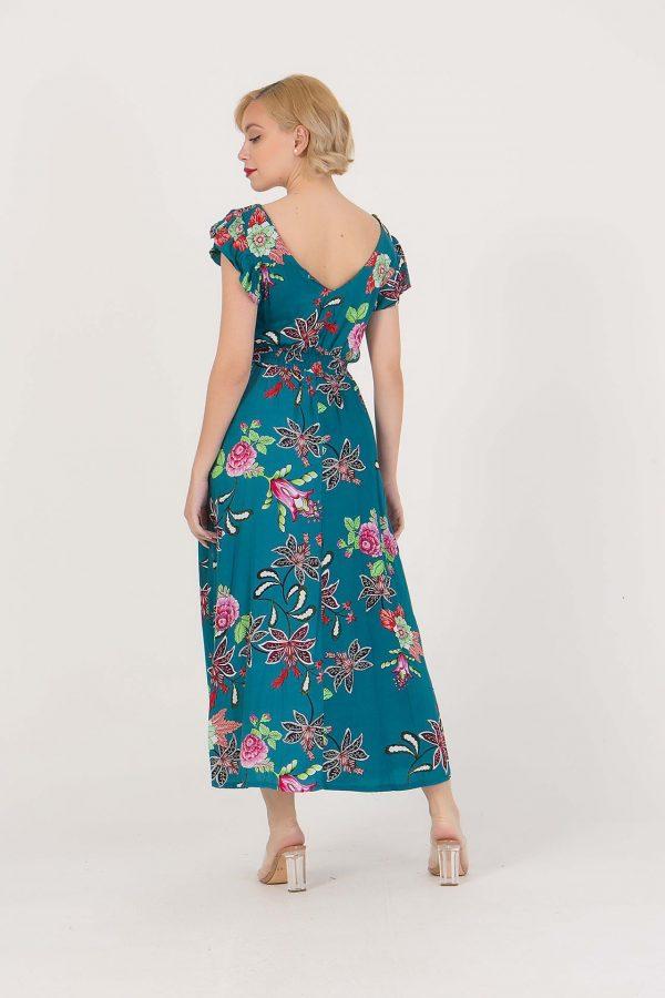 Φόρεμα φλοράλ με λάστιχο στη μέση και V-λαιμόκοψη benissimo