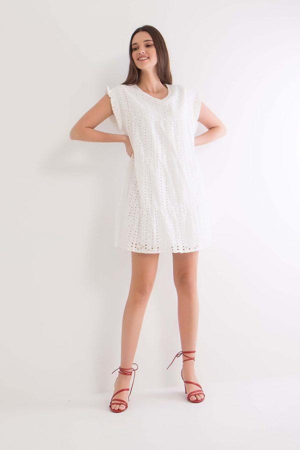 Φόρεμα κοντό κοντομάνικο κιπούρ Benissimo
