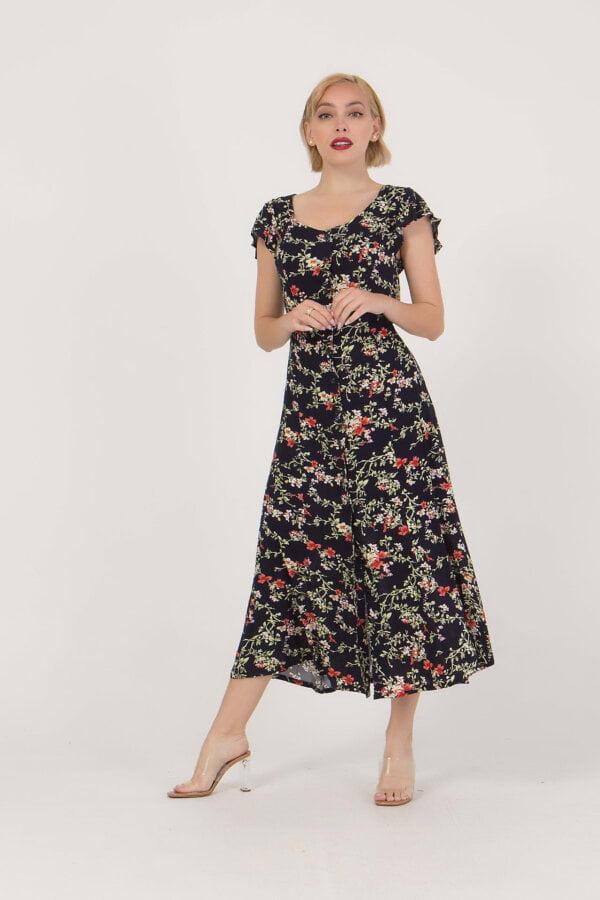 Φόρεμα φλοράλ κοντομάνικο Benissimo