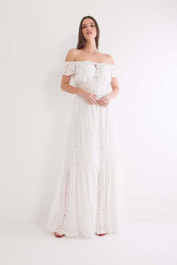 Φόρεμα maxi κιπούρ με παρτούς ώμους  Benissimo