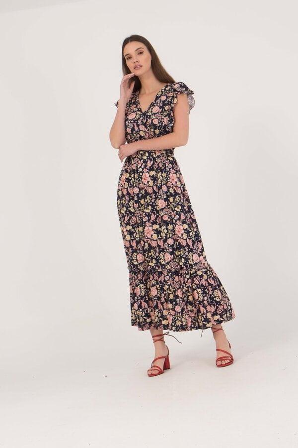 Φόρεμα midi floral κρουαζέ με λάστιχο στη μέση Benissimo