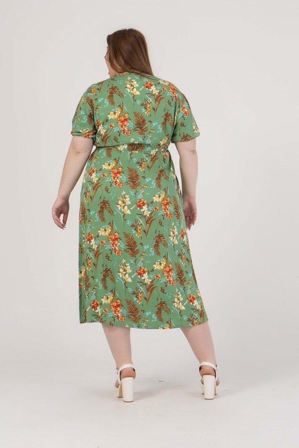 Φόρεμα midi floral με ζώνη στη μέση Honey