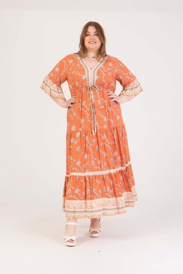 Φόρεμα εμπριμέ maxi με δέσιμο στη μέση Honey