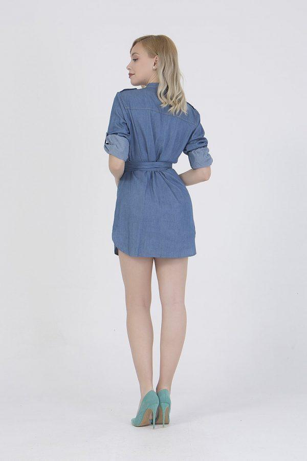 Φόρεμα denim με τρουα κάρτ μανίκια Coocu