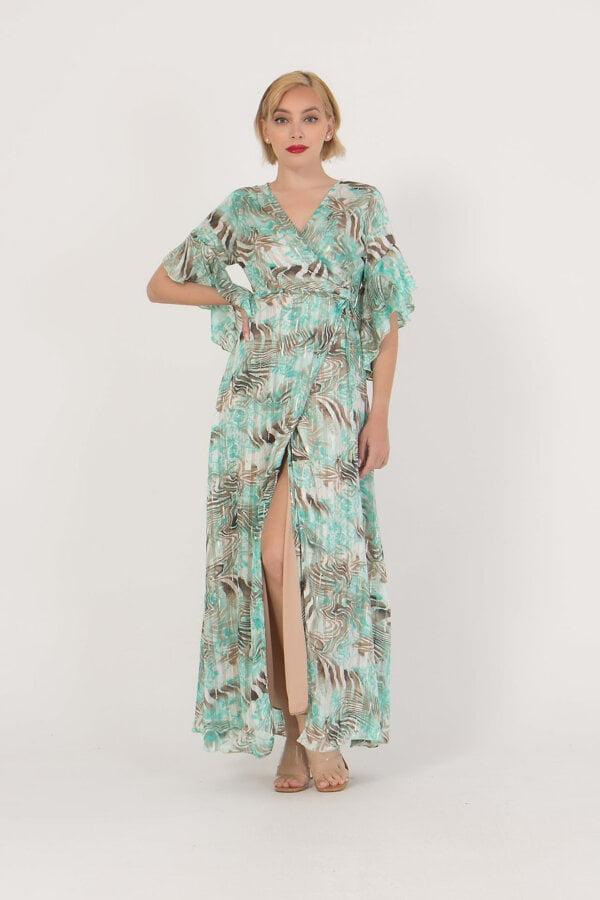 Φόρεμα εμπριμέ με τρουα καρτ μανίκια Coocu