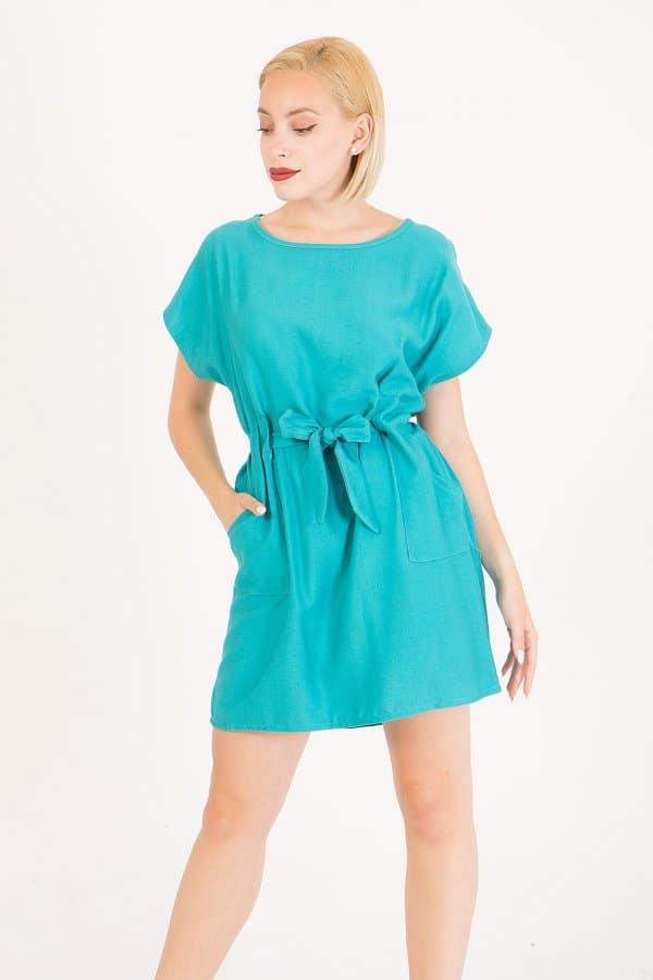Φόρεμα κοντομάνικο με ενσωματωμένη ζώνη Benissimo