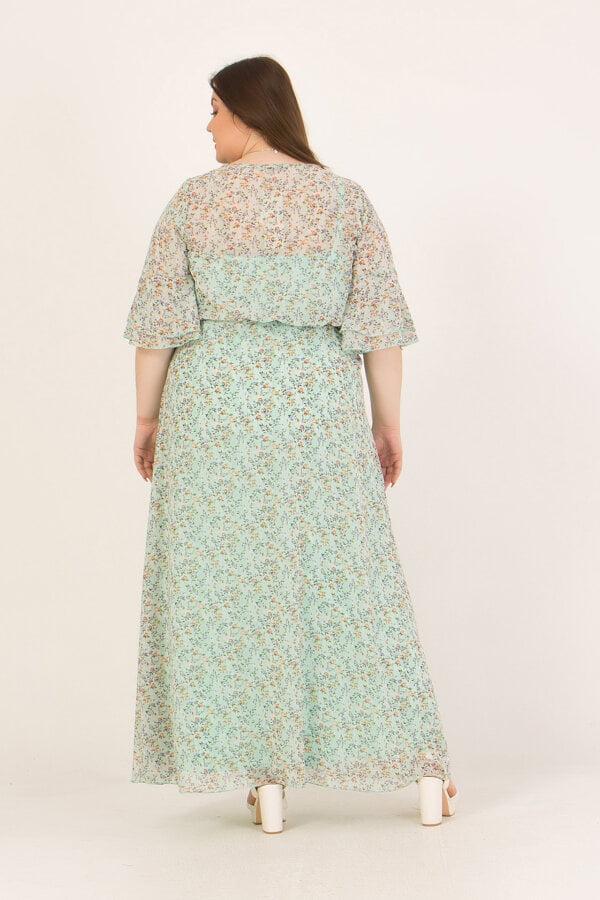 Φόρεμα maxi εμπριμέ κρουαζέ με λάστιχο στη μέση Honey