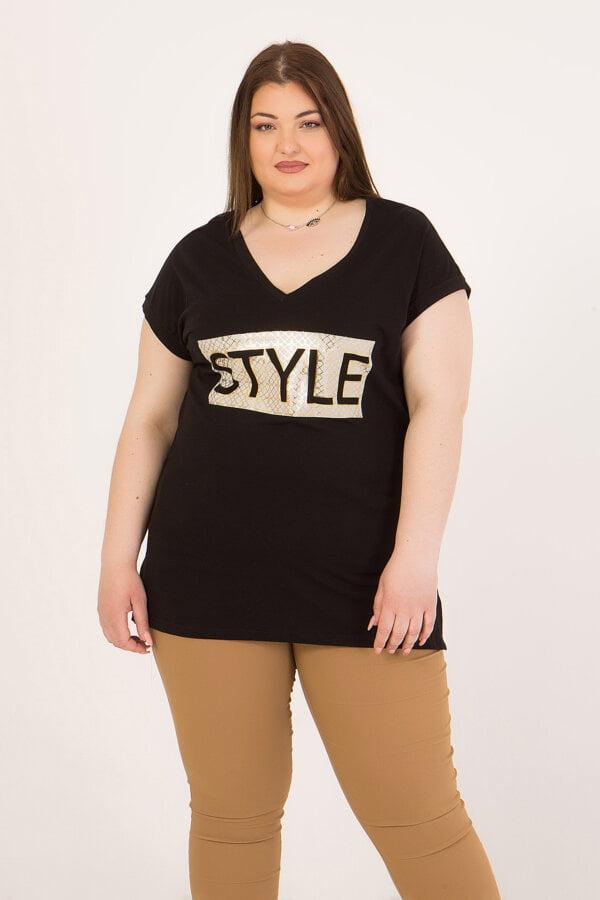 """Μπλούζα με V-λαιμόκοψη και με τύπωμα """"STYLE"""" Frozen Berry"""