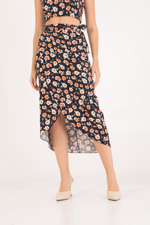 Total look φούστα ψηλόμεση φλοράλ με σετ crop top Benissimo