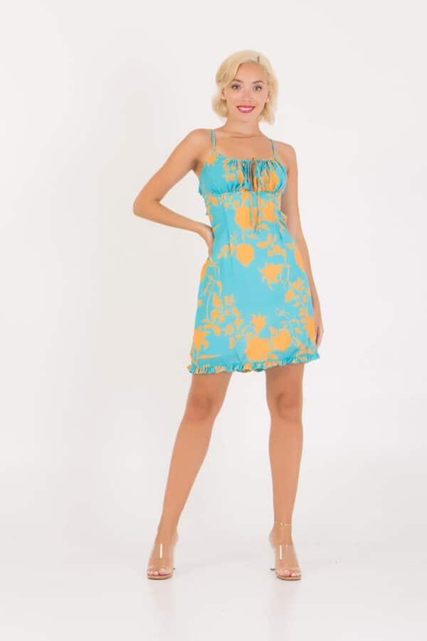 Φόρεμα εμπριμέ κοντό εξώπλατο Benissimo