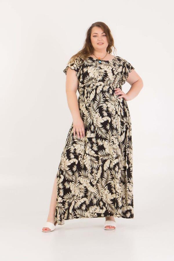 Φόρεμα maxi με σχέδιο φύλλα Honey