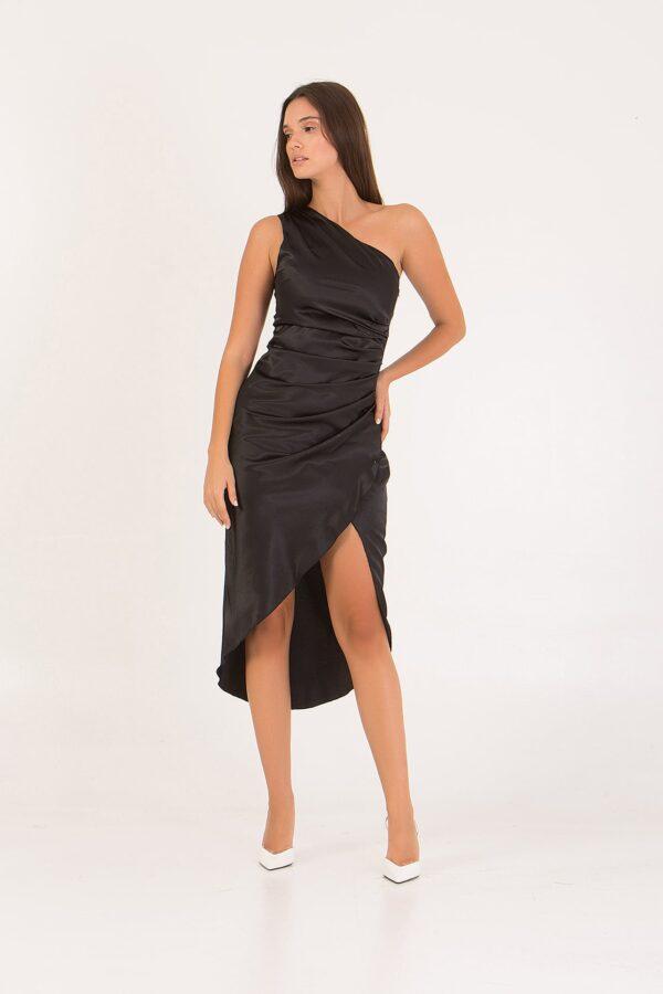 Φόρεμα σατέν με έναν ώμο Coocu